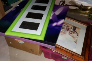 A selection of frames, decorative pictures and prints on canvas etc