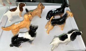 Seven various minature Beswick dogs, Collie etc.