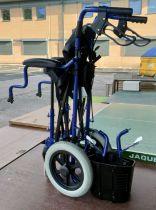 A folding wheelchair