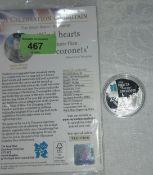 "GB: Olympics silver £5 2010, ""Kind Hearts"""