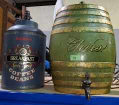 A china barrel converted to table lamp, lettered 'Cloves'; a reproduction coffee tin table lamp;