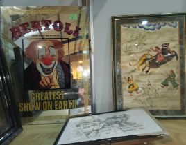A circus Advertising mirror Bertoli Brothers Greatest Show on Earth, a Indian painting of a