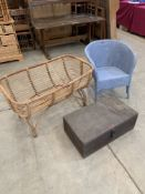 A bamboo cradle; a loom tub chair and a pine box (3)