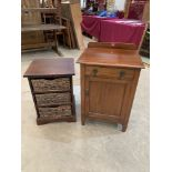 A mahogany bedside cupboard and an open cupboard with three storage baskets. (2)