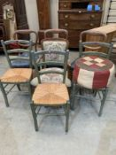 Seven miscellaneous chairs and a pouffe