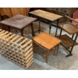 An oak folding cakestand, wine rack and other items of furniture (5)