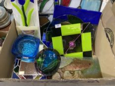 A quantity of contempory style coloured glassware to include two stained glass panels
