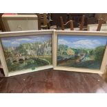 DEREK BARLOW. BRITISH 20TH CENTURY A Cotswold village and a canal scene. A pair. Signed and dated