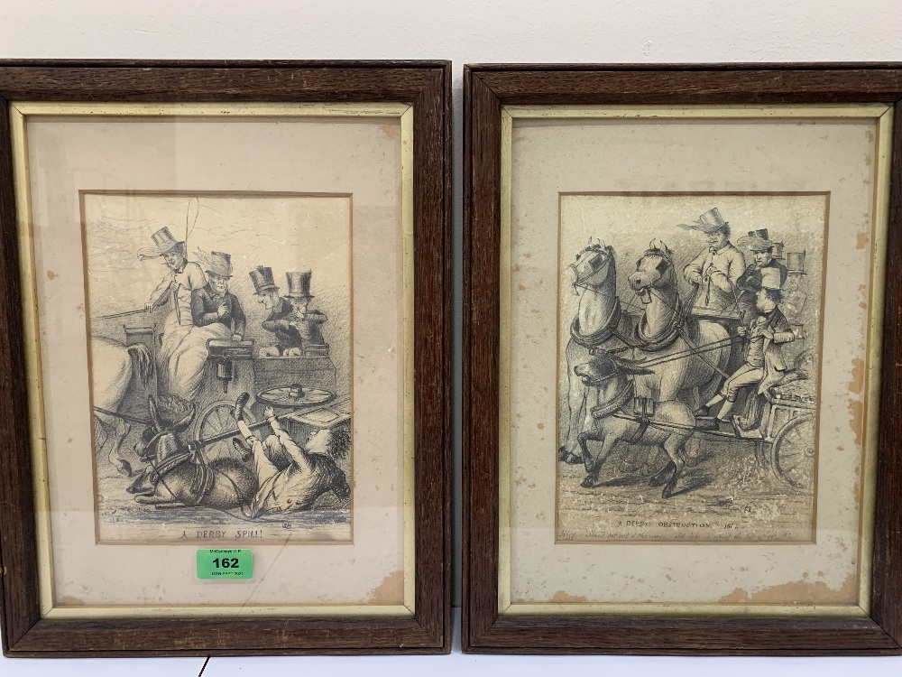 19TH CENTURY ENGLISH SCHOOL A pair of pencil drawings, A Derby Spill and a Derby Obstruction. 9½'