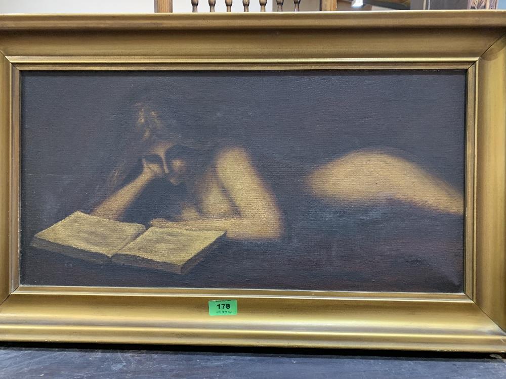 20th CENTURY SCHOOL A female nude reading. Oil on canvas 12' x 24'