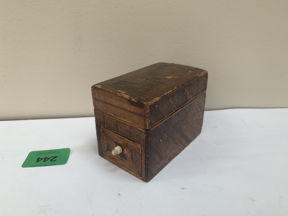 An early 19th century straw-work box with drawer. 3½' long