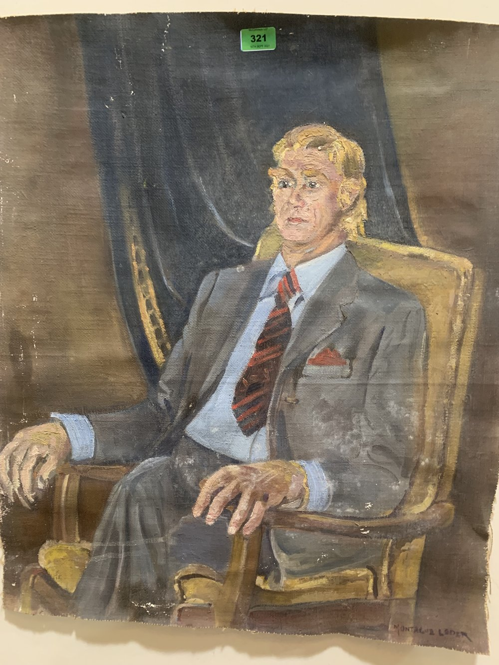 MONTAGUE LEDER. BRITISH 1897-1976 A portrait of a seated gentleman. Signed. Oil on unstretched
