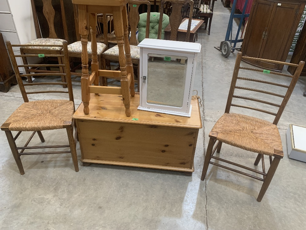 A bathroom cabinet, a pine stool, a pine box and a pair of rush seat chairs. (5)