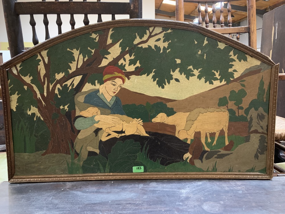 A scratch carved and painted wood panel of a girl with sheep and a painting on wood panel of a - Image 2 of 2