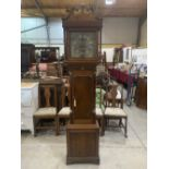 An 18th century oak and mahogany 8 day longcase clock, the 12' brass and silvered dial signed