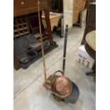 A copper coal scuttle, warming pan and a coaching horn (3)