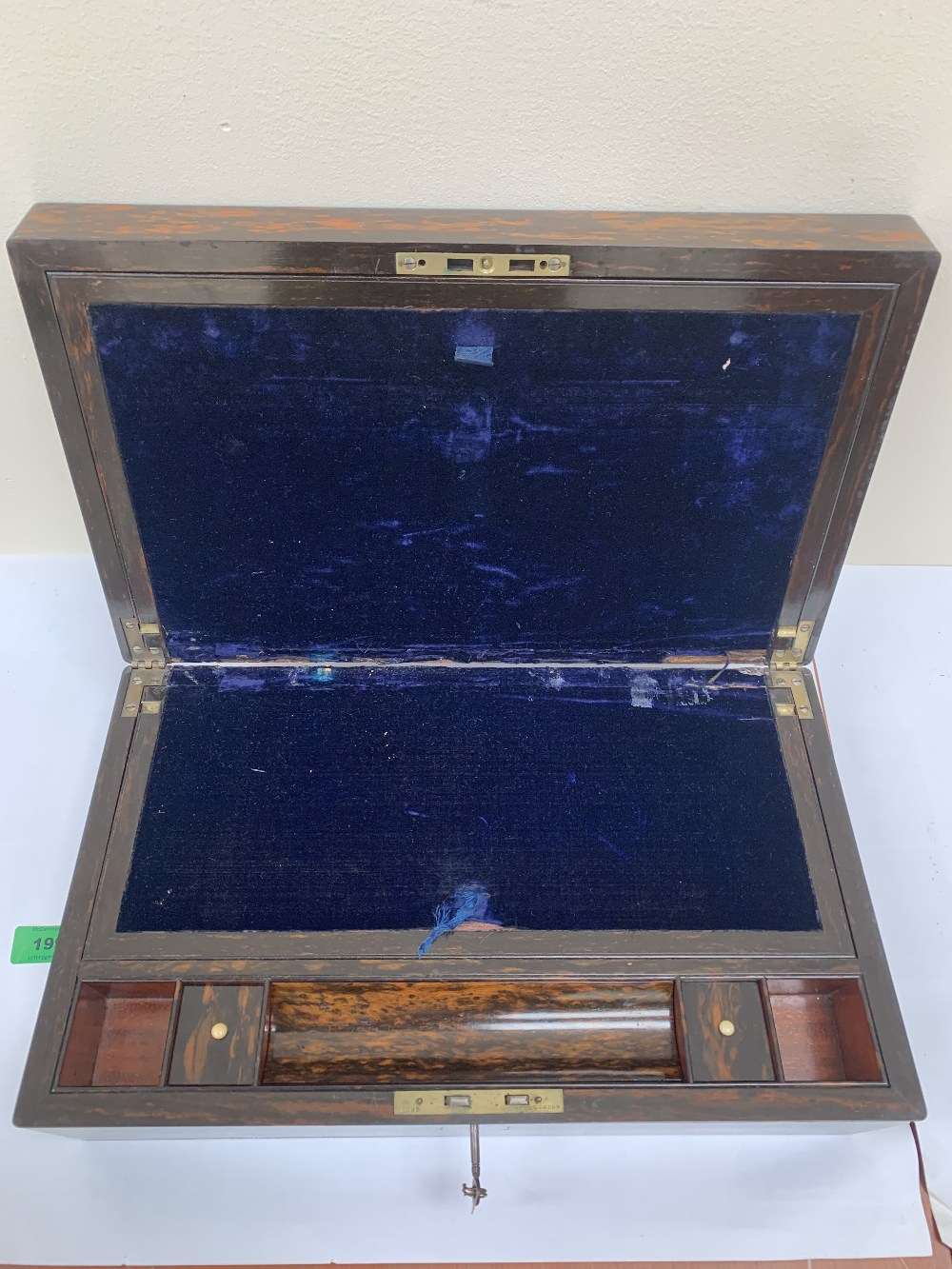 A 19th century rosewood writing slope, the lock stamped Lund, London. 16' high - Image 2 of 2