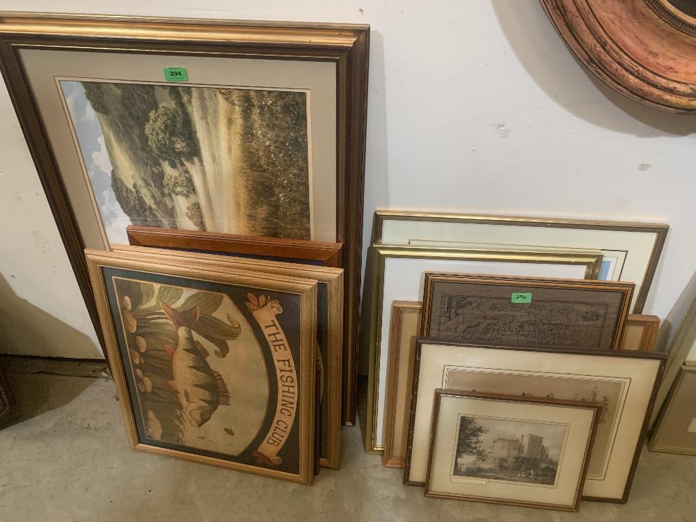 A quantity of framed prints