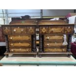A pair of 19th century mahogany and crossbanded chests of one long over three shorter drawers