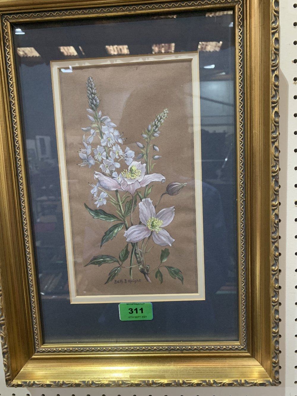 BETTY B. KNIGHT. BRITISH 20TH CENTURY Study of clematis and verbascam. Signed. Watercolour and