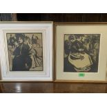 Two framed lithographs 'Hyde Park' and 'Flower Sellers' from William Nicholson's London Types