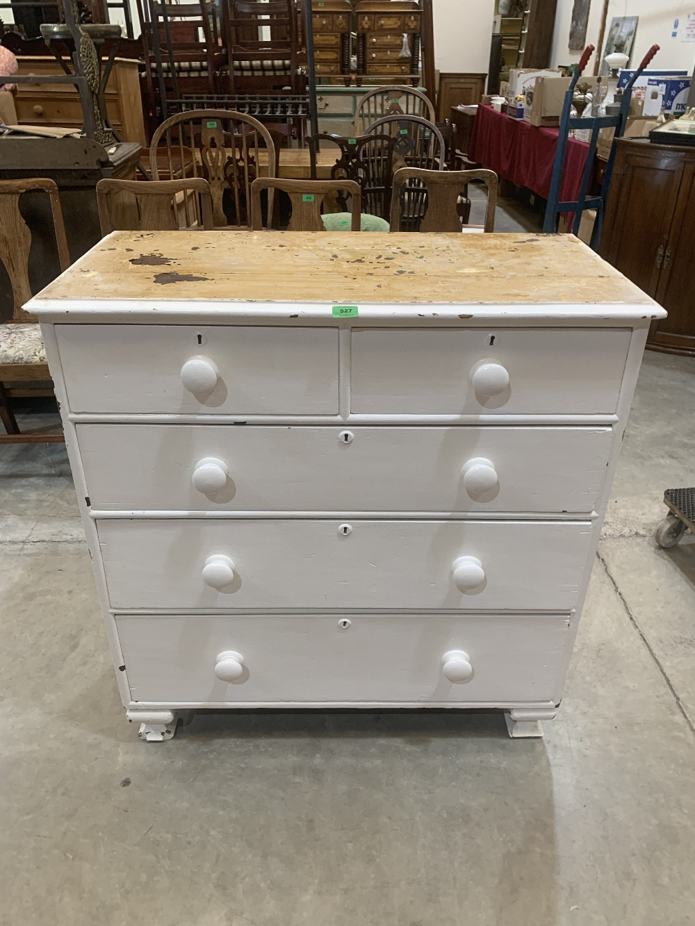 A Victorian painted pine chest of two short over three long drawers. 36' wide
