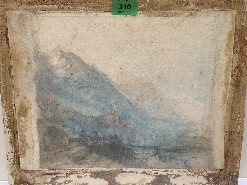 MANNER OF JOSEPH MALLORD WILLIAM TURNER. BRITISH 1775-1851 Alpine valley with distant Chateau of
