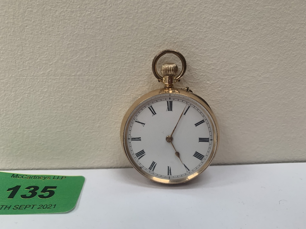 A 14ct cased keyless fob watch, the enamel dial with Roman numerals. 36mm diam.