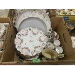Two boxes of plates, mugs, Davenport etc.