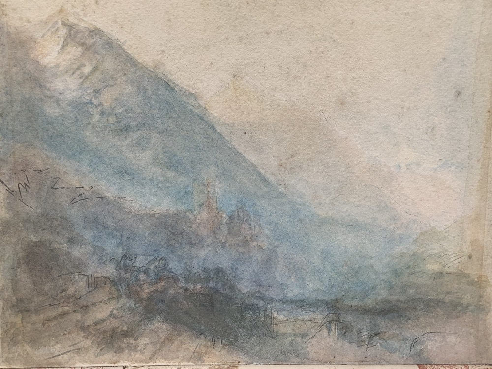 MANNER OF JOSEPH MALLORD WILLIAM TURNER. BRITISH 1775-1851 Alpine valley with distant Chateau of - Image 2 of 5