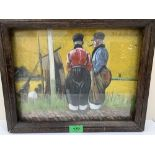 BERT HOOKHAM. BRITISH 20TH CENTURY A Dutch scene with two figures. Signed. Mixed media. 10' x 13'
