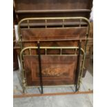 A 19th century French 3'2' brass and inlaid marquetry wood bedstead