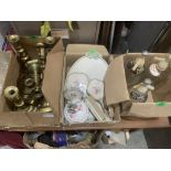 A box of brass candlesticks, three soda syphons and a dressing table set
