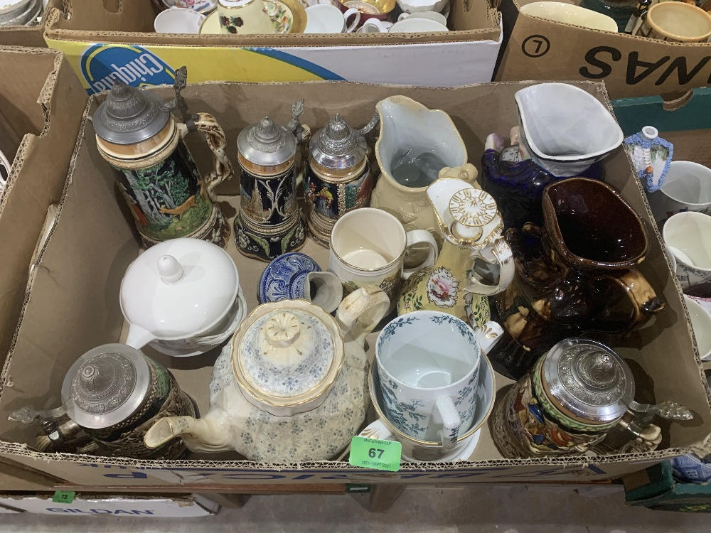 Two boxes of stoneware and other ceramics