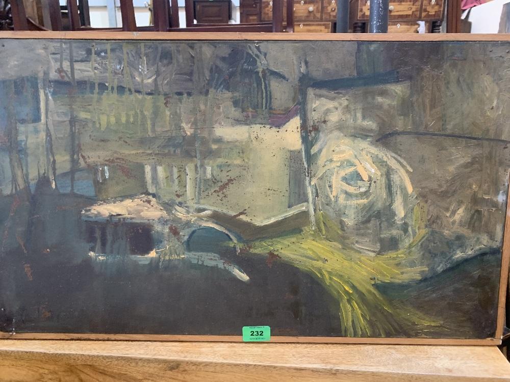 MANNER OF RICHARD LIN. TAIWANESE 20TH CENTURY. An abstract. Bears a signature 'R. Lin'. Oil on board
