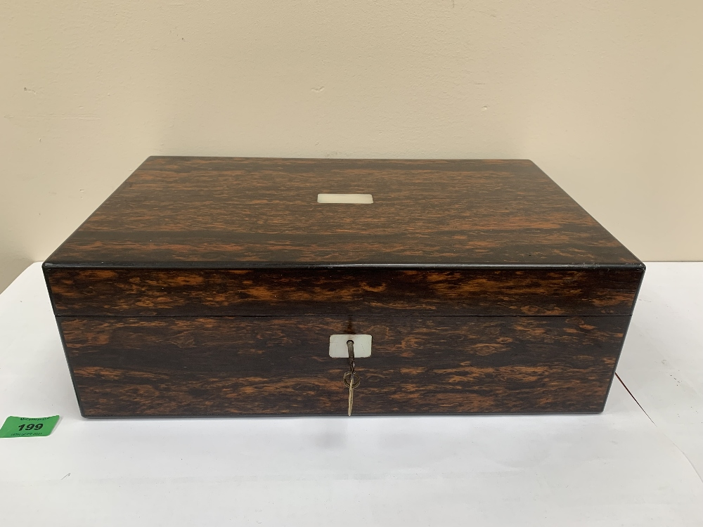 A 19th century rosewood writing slope, the lock stamped Lund, London. 16' high
