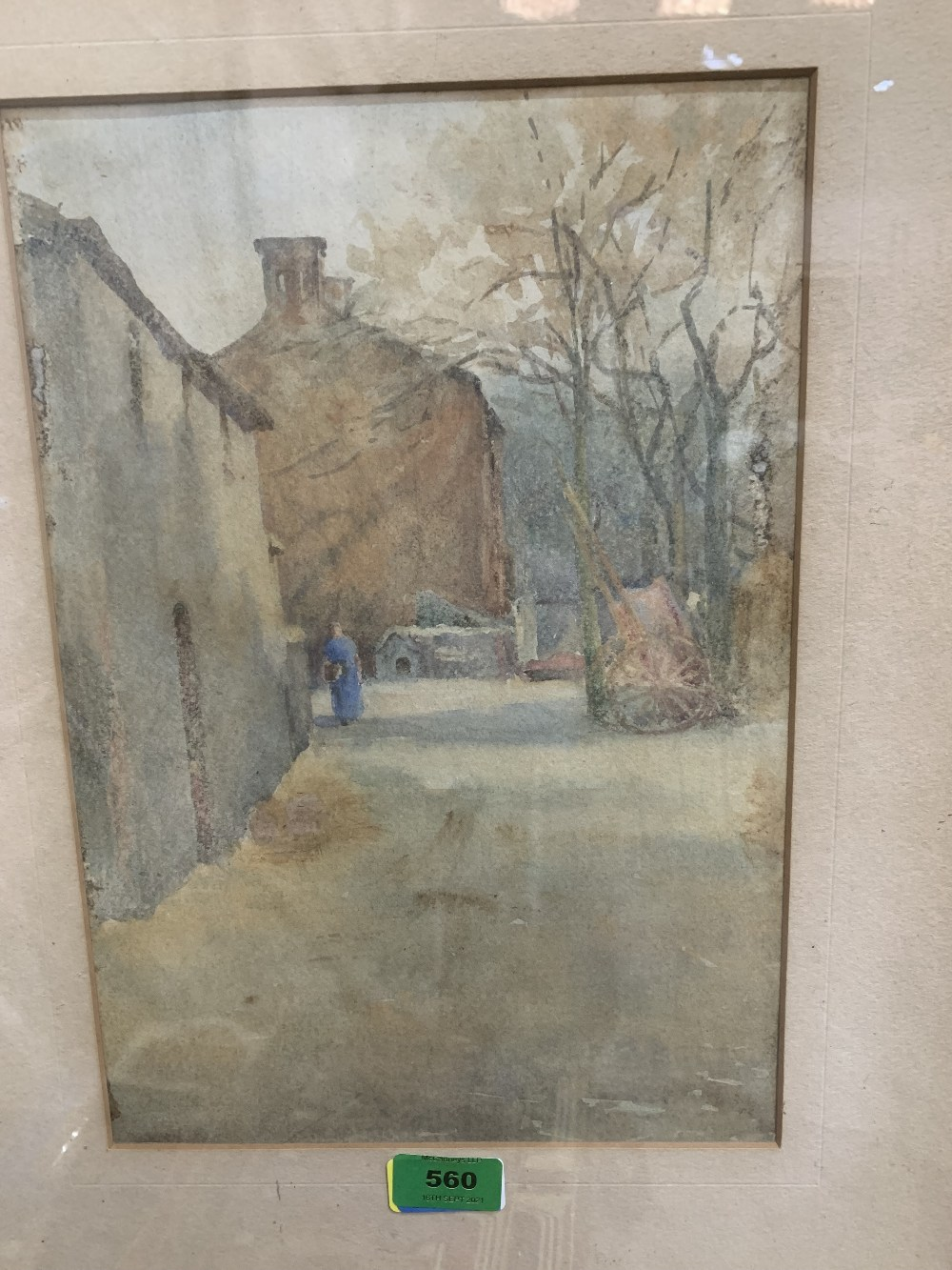 FRENCH SCHOOL. 19TH CENTURY Farmyard with figure. Watercolour 13¼' x 9'