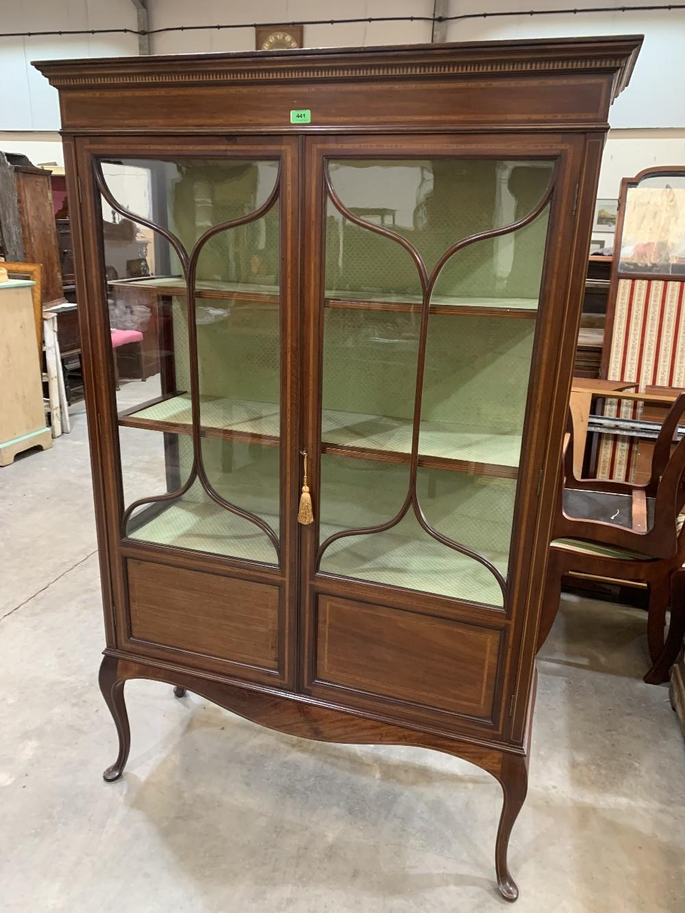 An Edward VII mahogany china display cabinet, line inlaid and satinwood banded, enclosed by a pair