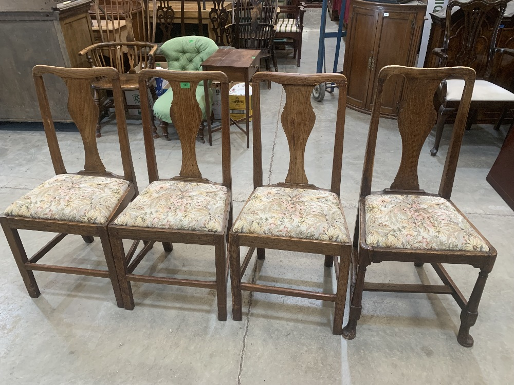 Four 19th century joined oak splat back country chairs