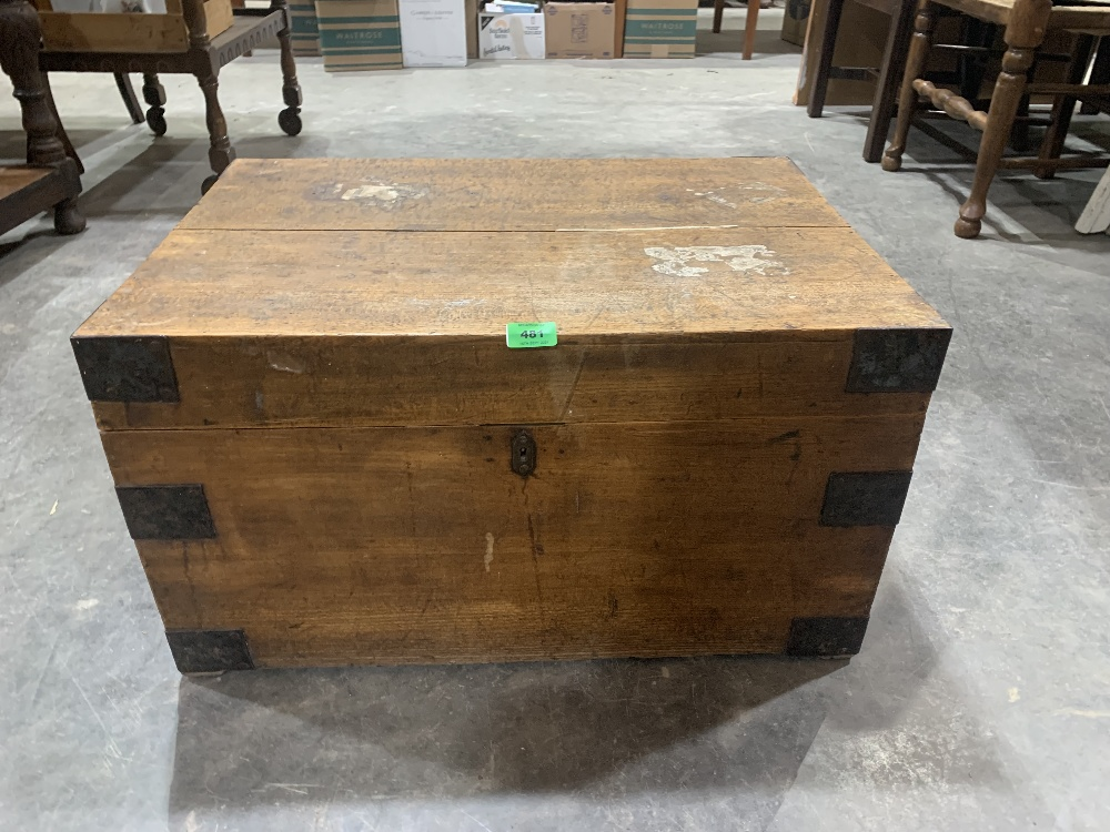 A 19th century oak and iron bound mariner's chest. 26' wide