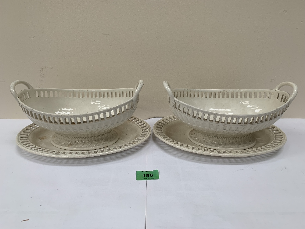 A pair of early 19th century Wedgwood creamware basket weave moulded tureens and stands with
