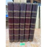 Five leather bound volumes, Art Journal, 1851; 53; 55; 56; 58