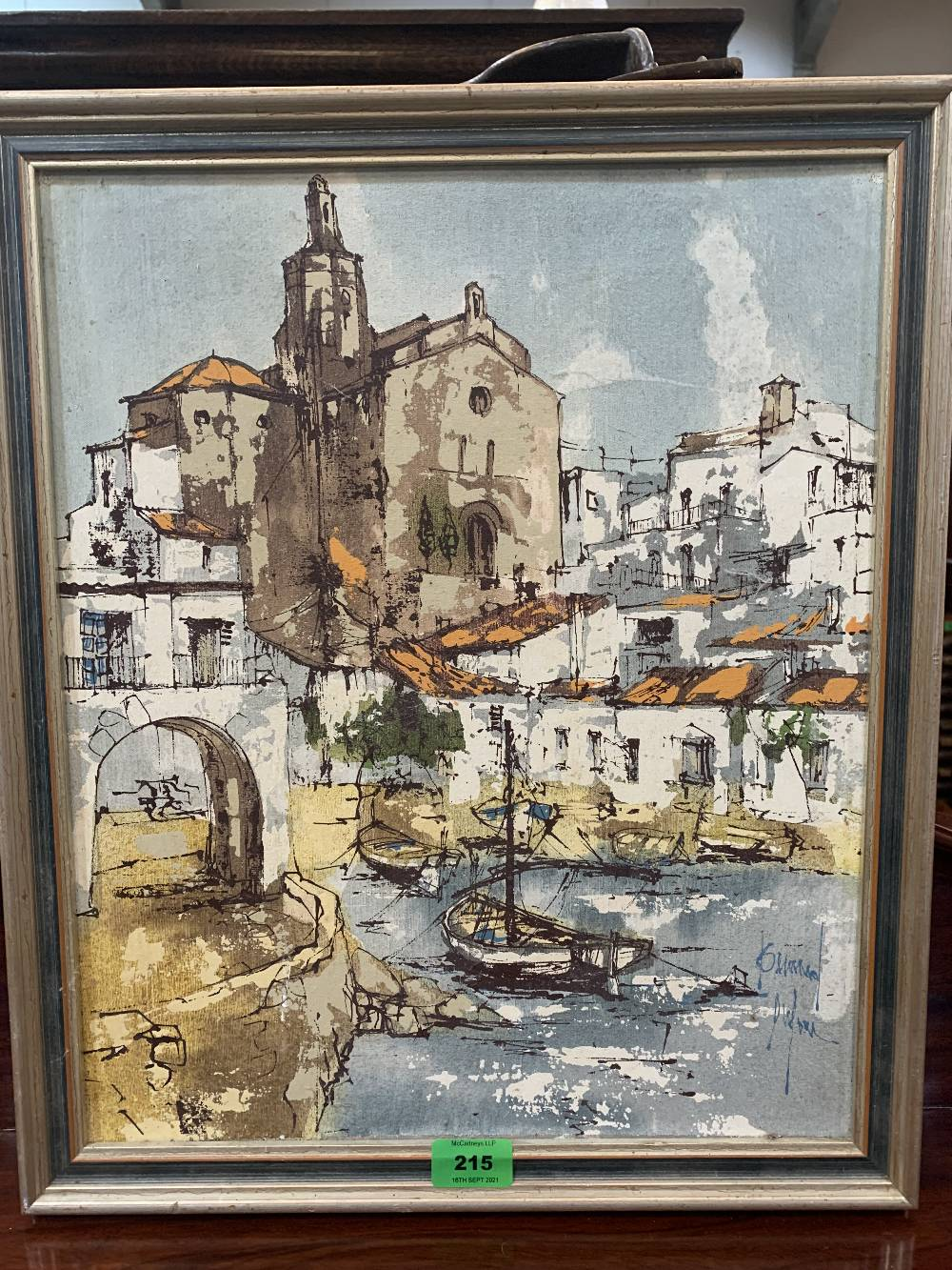 BERNARD DUFOUR. FRENCH 1922-2016 A continental town. Signed. Oil on board 18' x 15'