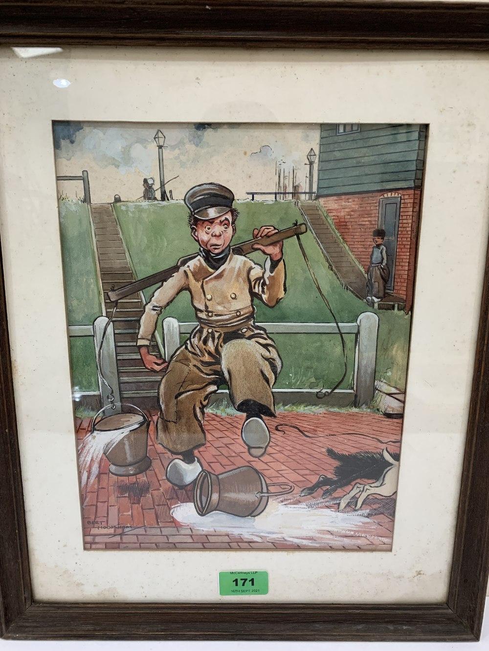 BERT HOOKHAM. BRITISH 20TH CENTURY A humorous cartoon. Signed. Watercolour 12' x 9'