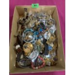 A box of costume jewellery and watches