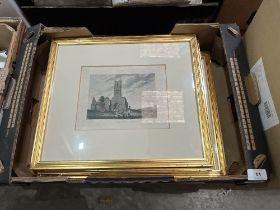 Six 18th century framed engravings