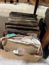 A box of LP vinyl and 78rpm records