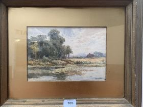 WALTER BROOKES SPONG. BRITISH 1851-1929 An Oxfordshire landscape with figure. Signed. Watercolour