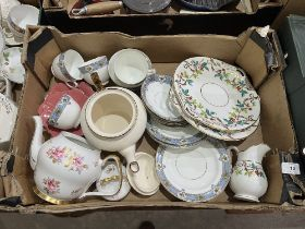 Three boxes of teaware and other ceramics