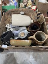 Two boxes of studio pottery